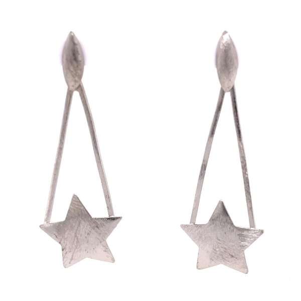 Rhodium Plated Star Earrings