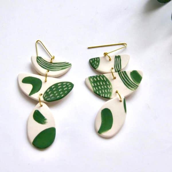 Green Luna Drop Earrings