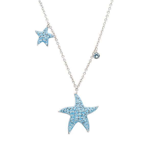 Aqua Star Fish Necklace w/ Dangles