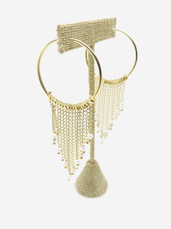 Angle view of 18KY Plated Pearl Dangles from Hoop Earrings by Creative Brazil on an element.