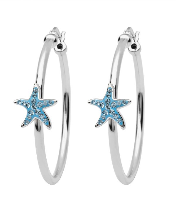 Aqua Star Fish Hoop Earrings