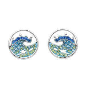 Blue Wave Stud Earrings
