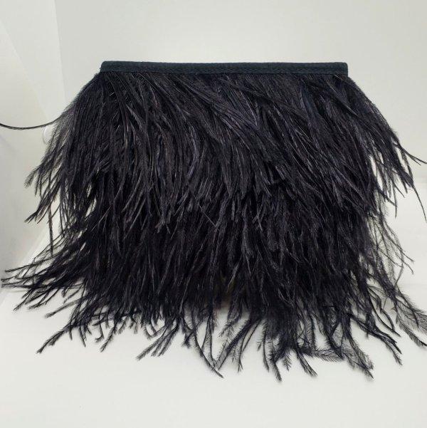 Fancy Black Ostrich Feather Handbag