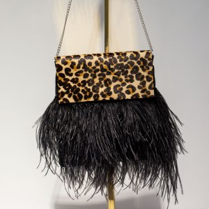 Leopard Print Black Feather Tiffany Bag front view.