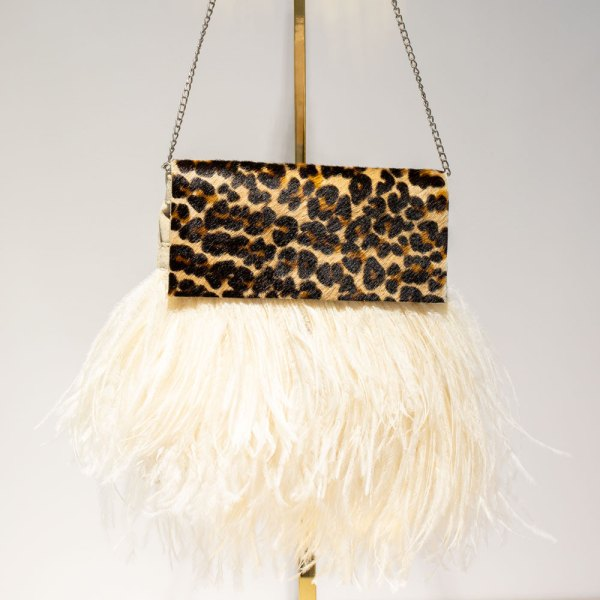 Leopard Print Ivory Feather Tiffany Bag front view.
