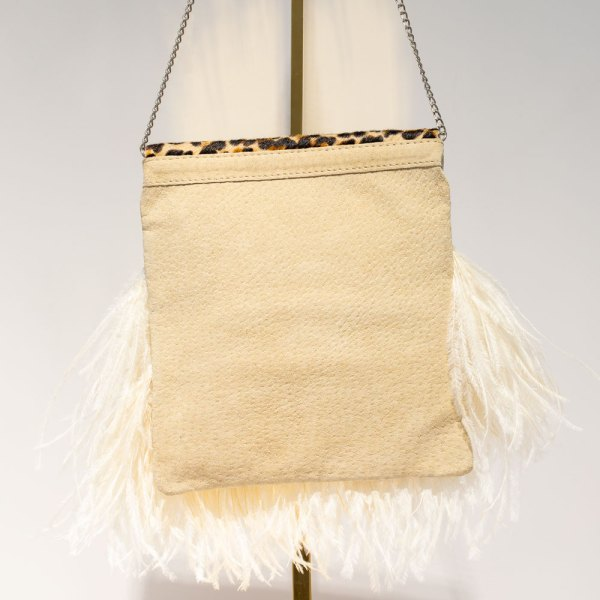 Leopard Print Ivory Feather Tiffany Bag back view.