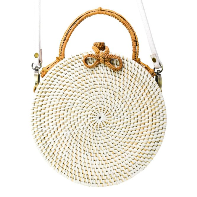 Palm Leaf Milly Bag in white color.
