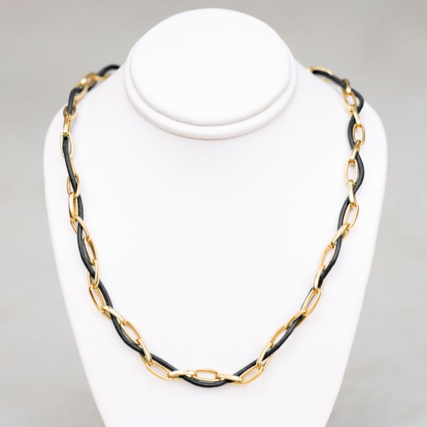Black Leather Yellow Gold Chain Choker on a white display element.