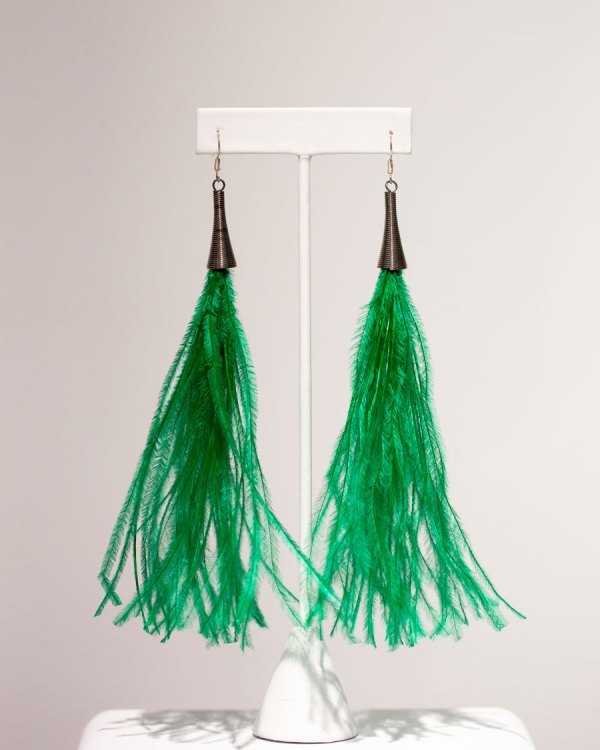 Emerald Ostrich Feather Earrings front view.