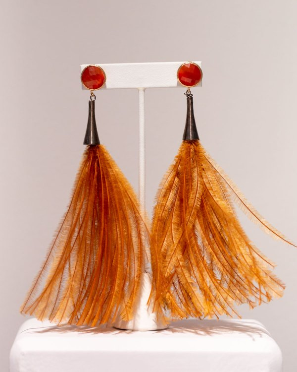 Rust Fluffy Earrings with Bling front view.