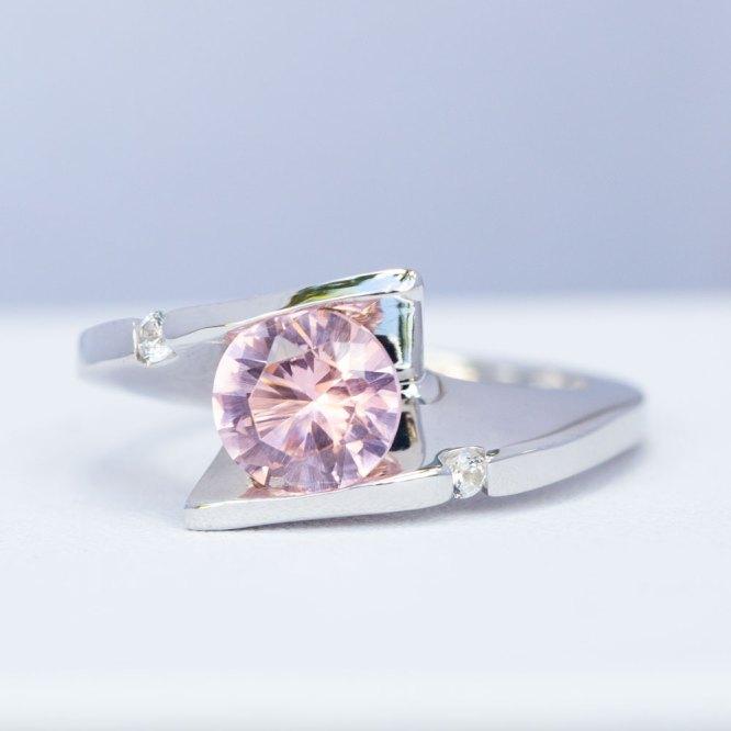 Sunset Quartz & White Sapphire Ring top view.