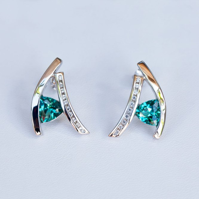Trillion Cut Caribbean Blue Quartz & White Sapphire Earrings front view.