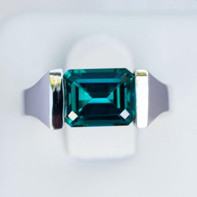 Emerald Cut Caribbean Blue Quartz Ring top view.