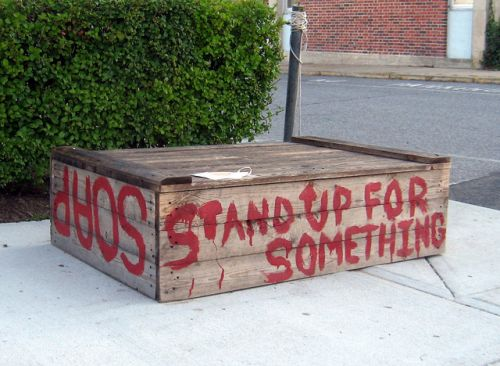 soapbox stand with painted words