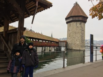 Wasserturm or Water Tower and Kapellbrücke or Chapel Bridge, the oldest covered wooden bridge in Europe