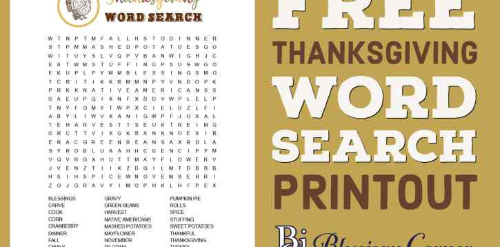 Free Thanksgiving Word Search Printout