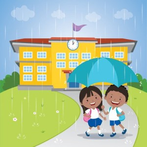 Kids holding umbrella walking in the rain