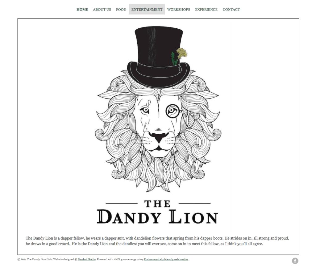Festival Website Design - The dandy Lion Cafe- Home