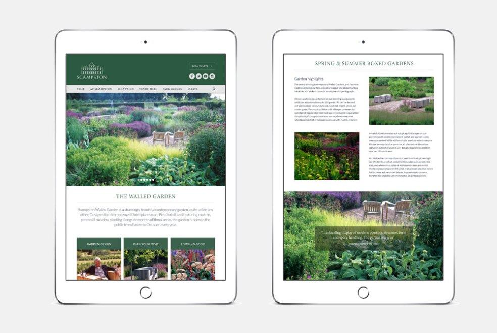 website viewed on tablet