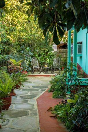 Garden path that leads to a casa entrance