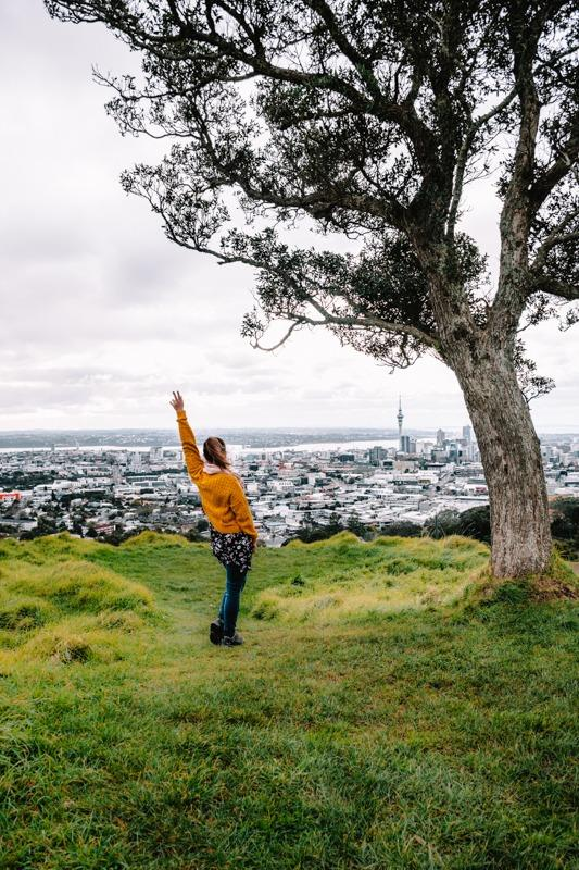 Me (Sandra) on the top of Mt Eden - city and SkyTower in the distance