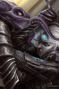 a tentacled monster grapples with a dark elf woman.