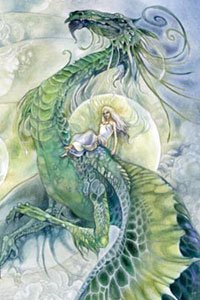 A woman in white robes rides a large green dragon.