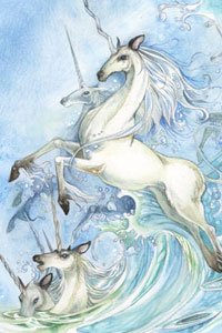 White unicorns spring from a rough surf.