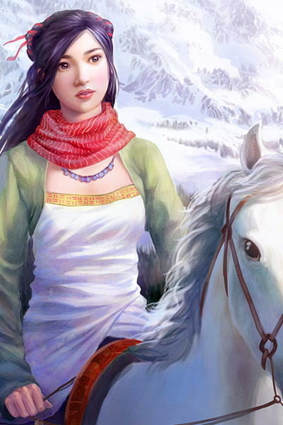 A young woman with long black hair rides a horse in winter.