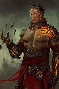 A man with natural rock armor and glowing veins.
