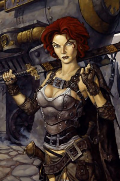 A red-haired woman wearing metal and leather armor wields a large sword next to a steam engine.