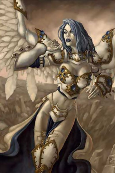 A pale woman with large white wings and golden armor stands.