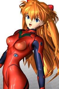 Evangelion's Asuka Langley smiles in her bright red plug suit.
