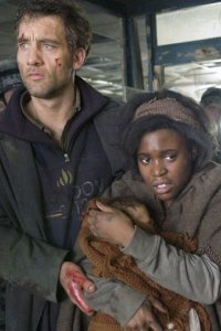 Clive Owen as Theo and Claire-Hope Ashitey as Kee.