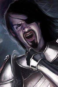 A man with long black hair, an eye patch and plate armor grimaces in pain.