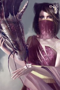 A veiled woman with dark hair pets a large, sleek dragon.