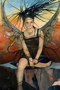 a dark haired fairy in a black dress sits and smiles with wings outstretched.