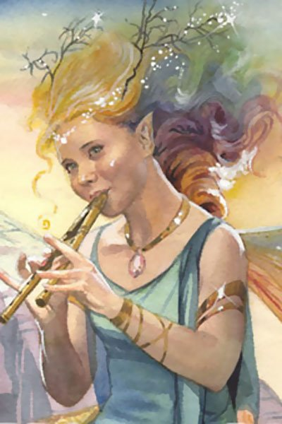A joyous fairy with multicolored hair plays a tune on her flute.