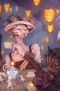 A hairless cat woman in a floral hat holds a delicate cup, playing cards at a table.