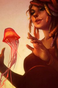 A woman is lit by the warm red glow of a floating jellyfish.
