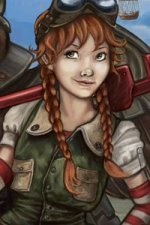 A young woman with red hair and green overalls wields a large wrench.