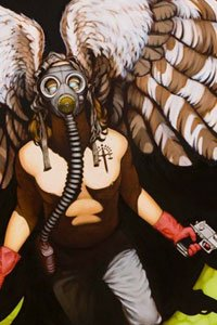 A man with large brown wings and a gas mask brandishes two pistols.