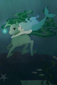 a cute mermaid wraps her arms around an underwater deer creature.