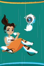 Portal's Chell enjoys a cup of tea while falling between portals.