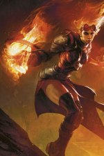 A woman in dark armor, goggles and flaming hair wields a fireball.