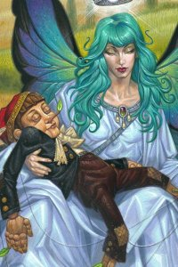 A large fairy with blue hair cradles a wooden boy in her lap.