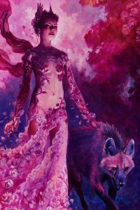 A slender woman in a flowery dress walks with a large hyena.