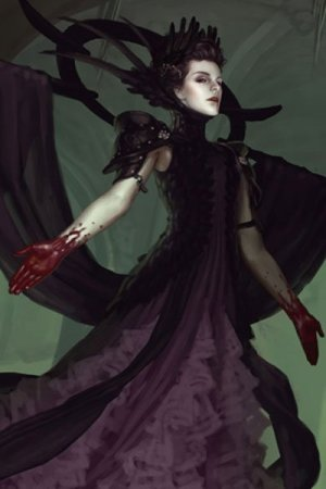A pale regal woman in dark robes, an elaborate headdress, and bloody hands floats