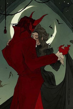 A man with pointed ears and large red horns in a dark red jacket dances with a woman in a long black dress.