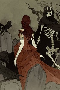 A slender woman in a long red dress and white gloves, dances in a graveyard with a skeleton in a long black cloak.